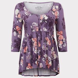 Torrid Super Soft Purple Floral Button Babydoll